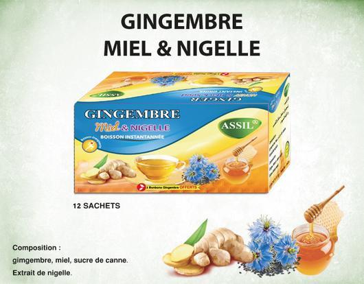 Thé naturel au Gingembre, miel et  nigelle